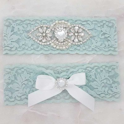 blue lace with crystal and pearl garter set