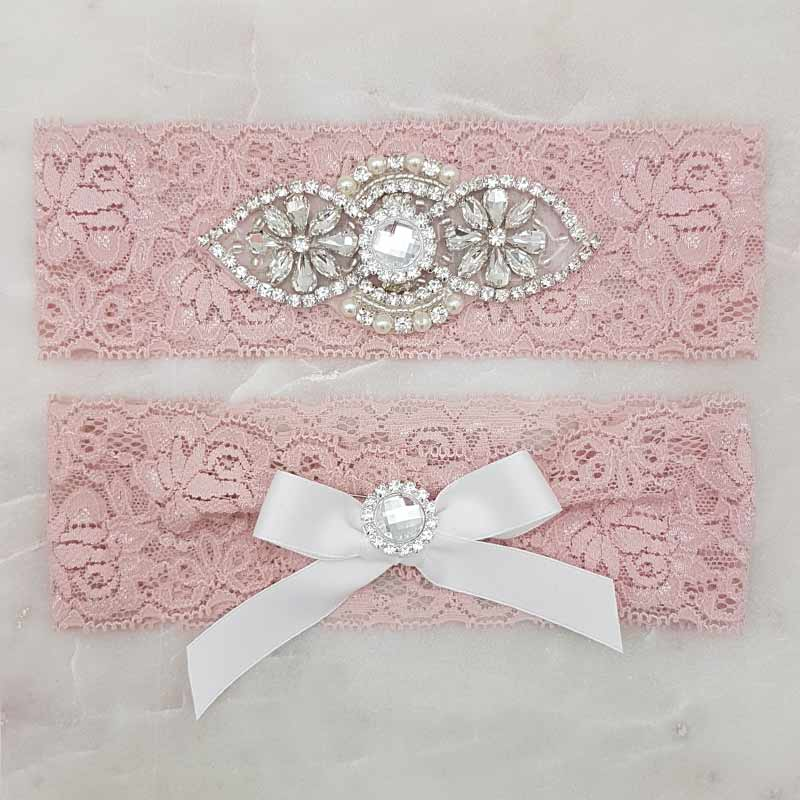 dusty pink bridal garter set with crystals and pearls