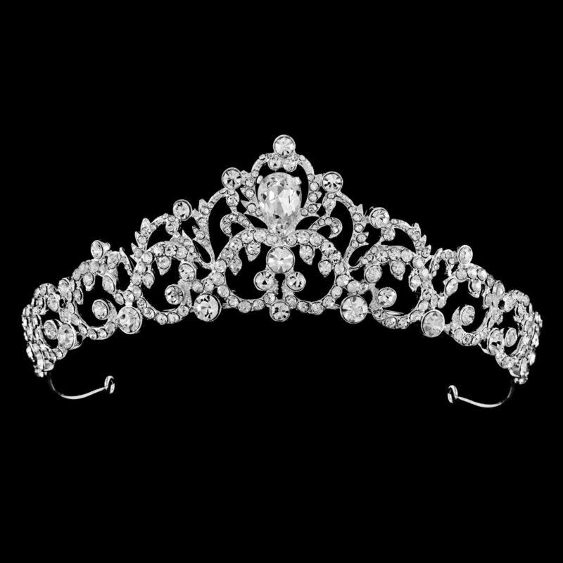 Belle crystal silver bridal crown