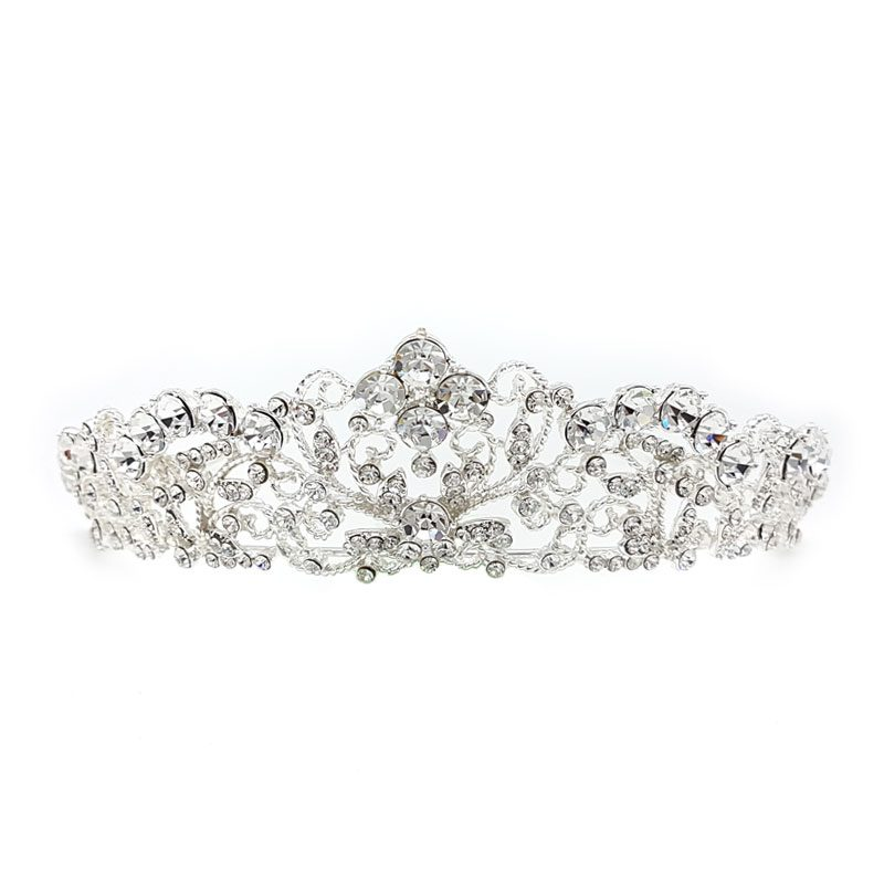 silver crystal bridal crown Jeffrey Chandra