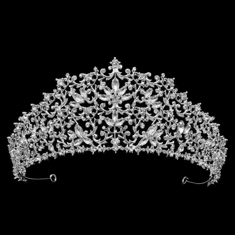 large silver crystal bridal crown