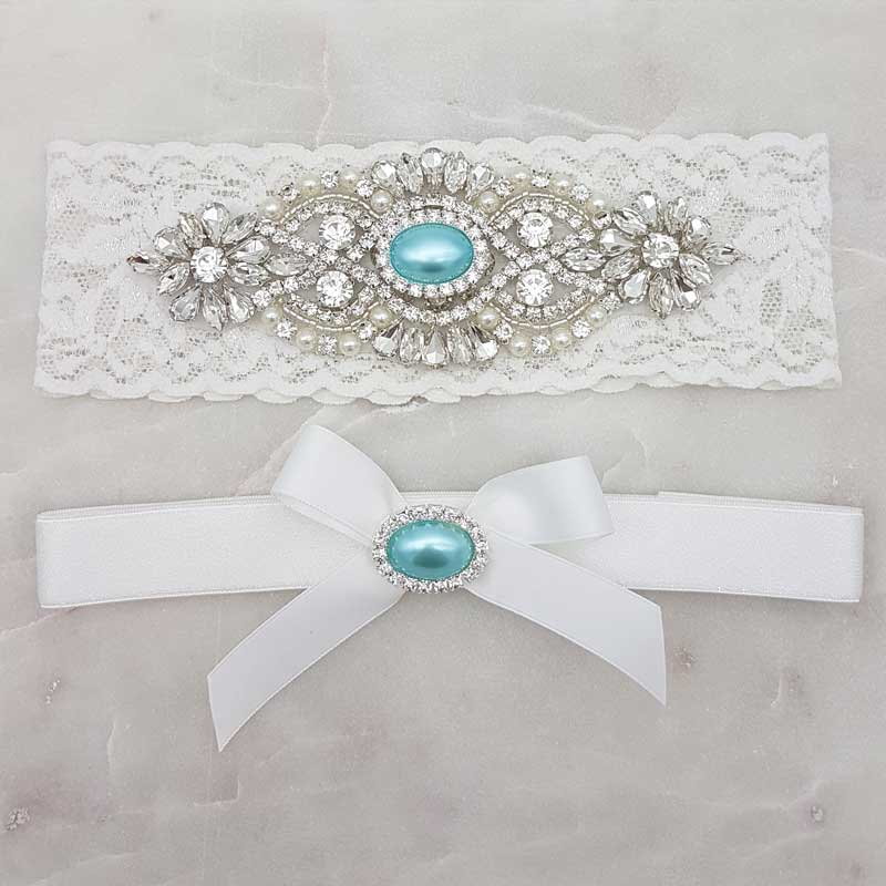 white lace garter set with blue pearl and crystal applique