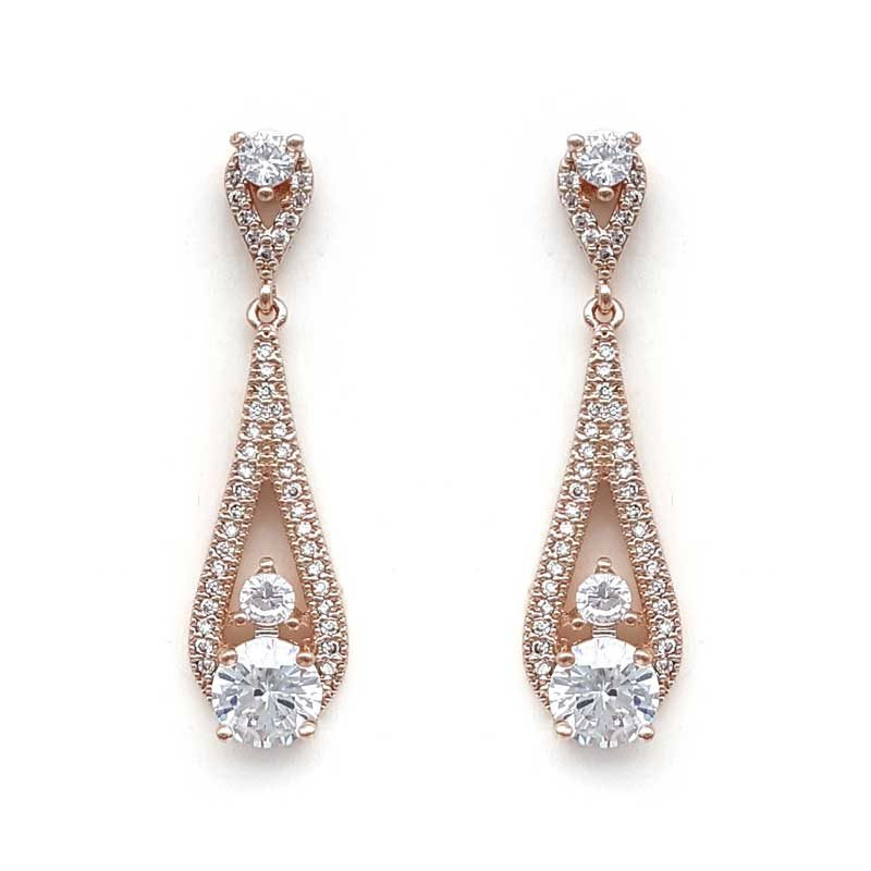 rose gold cz drop earrings