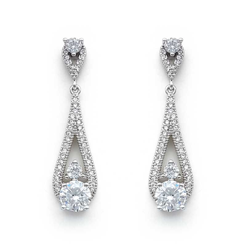 silver cz drop earrings