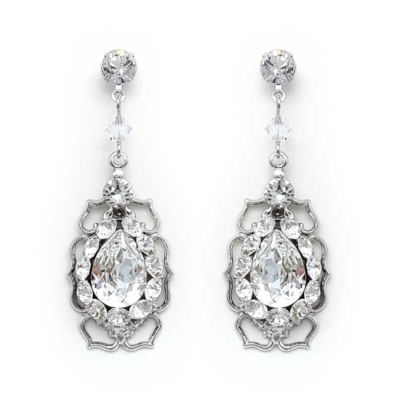 silver swarovski crystal bridal earrings