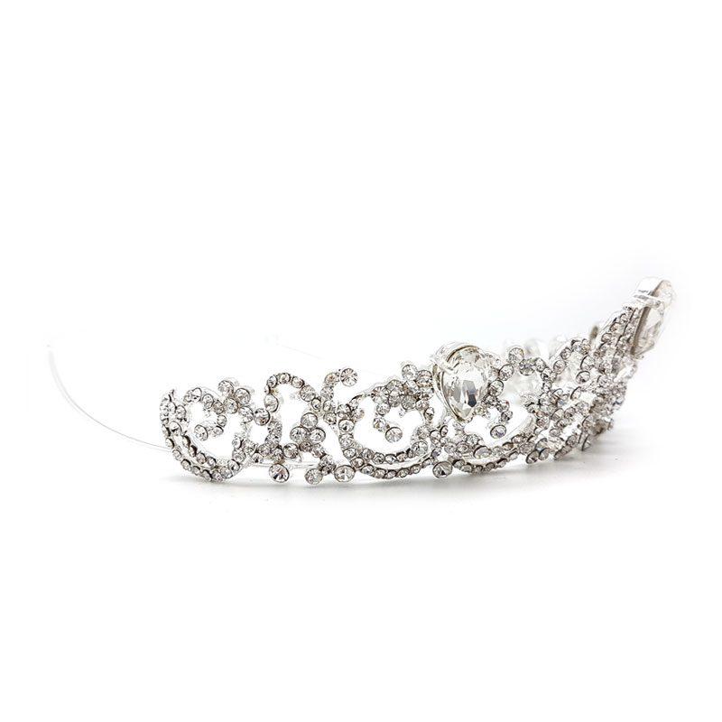 crystal silver bridal tiara