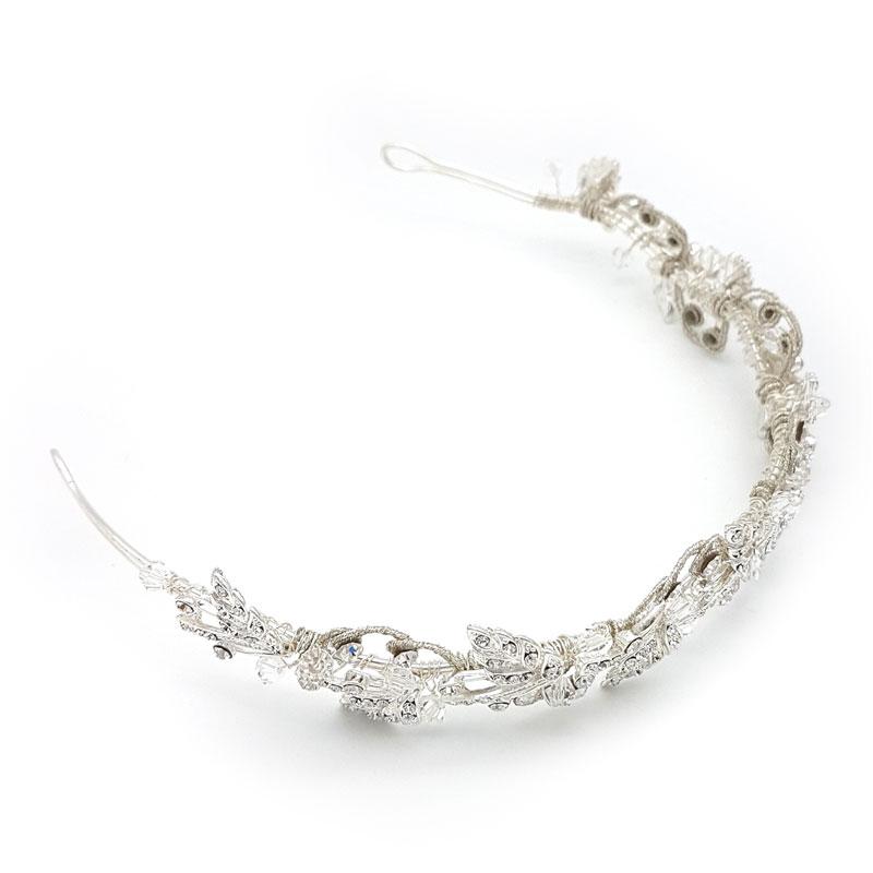 bridal crown and silver headband