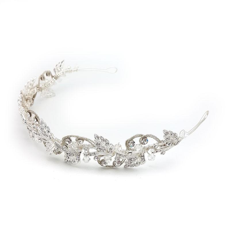 silver crystal headband and tiara