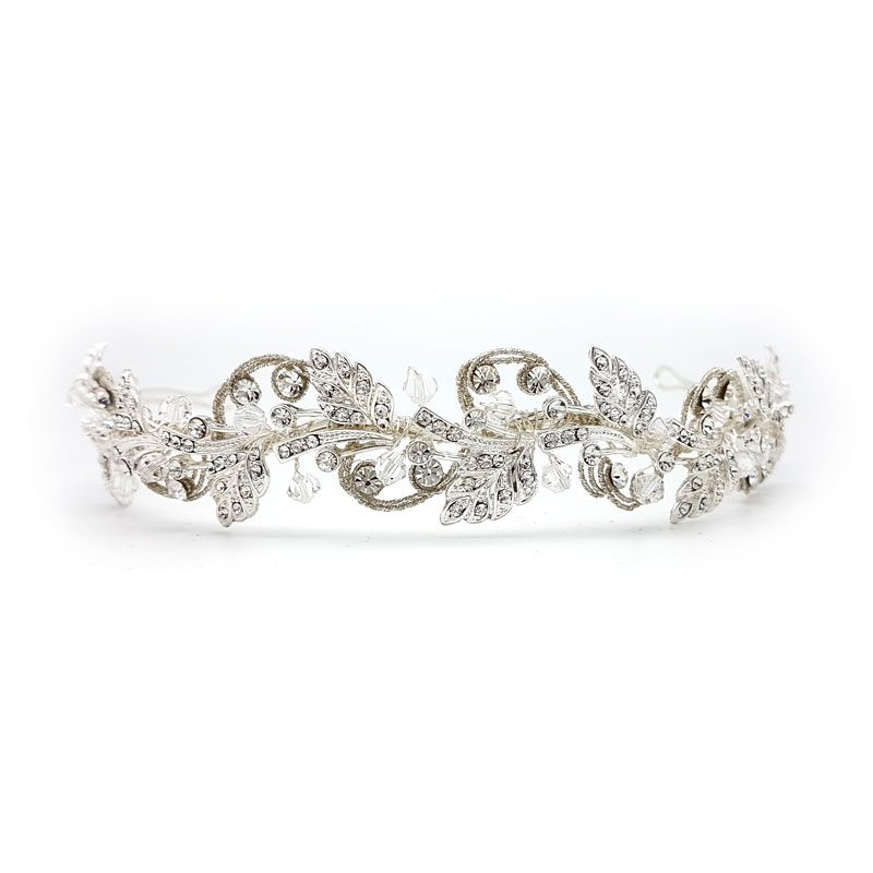 silver crystal headband and tiara