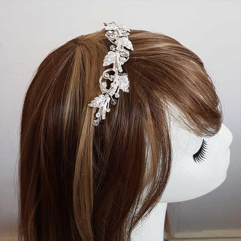 silver crystal bridal crown and headband