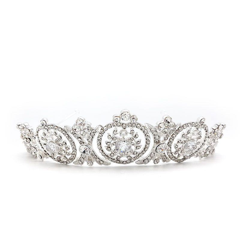 silver art deco bridal crown