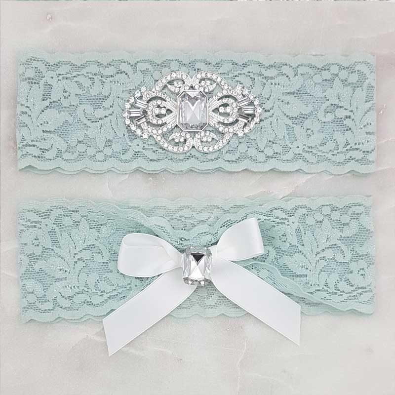 blue diamante and lace bridal garter set
