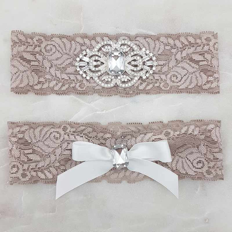 mocha lace and crystal bridal garter