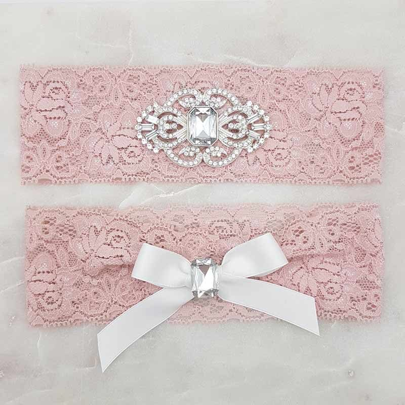 pink lace and crystal bridal garter