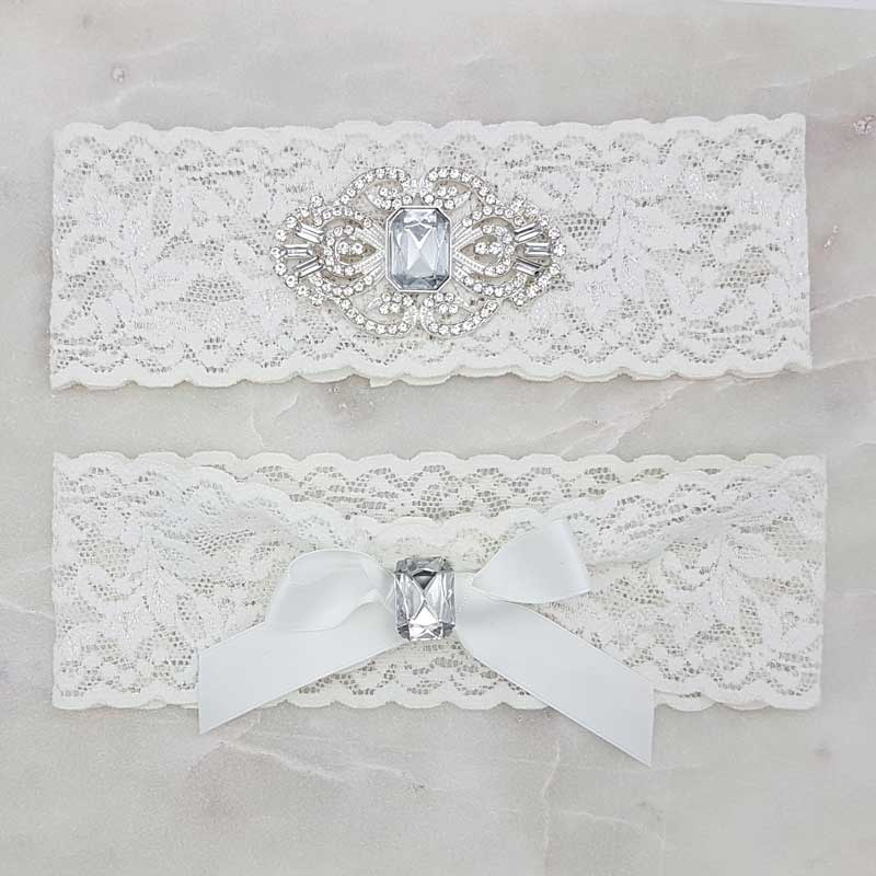 off white lace and diamante bridal garter set