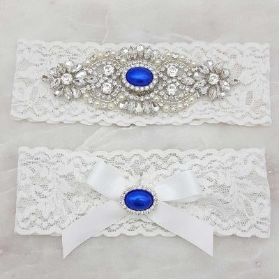 lace garter set with blue pearls and crystals