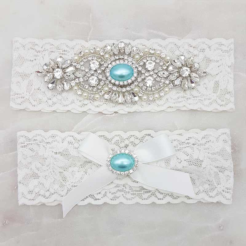 blue and white garter set with blue pearls and crystals