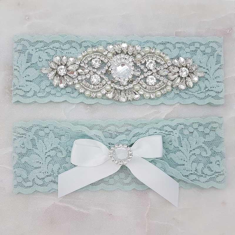 blue lace and crystal bridal garter set