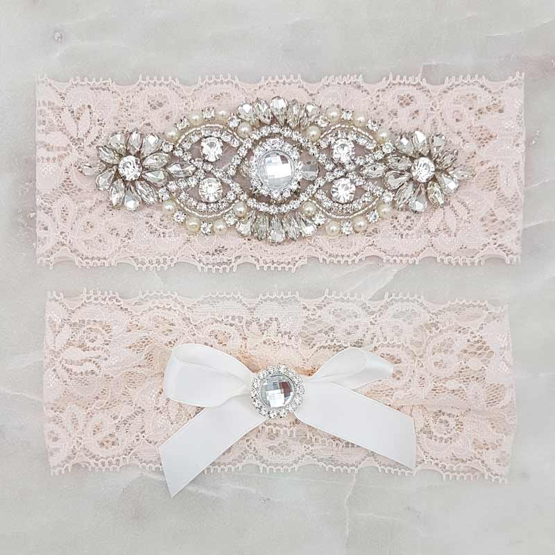 blush crystal bridal garter set