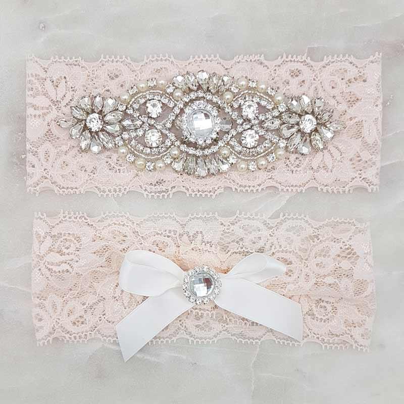 blush crystal bridal garter set