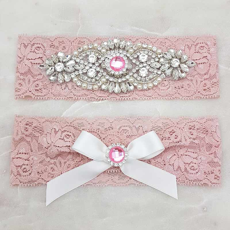 dusty pink lace with crystal and pink rhinestones