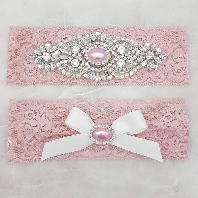 'Meghan Pearl' Lace Garter Set (Various Colours)