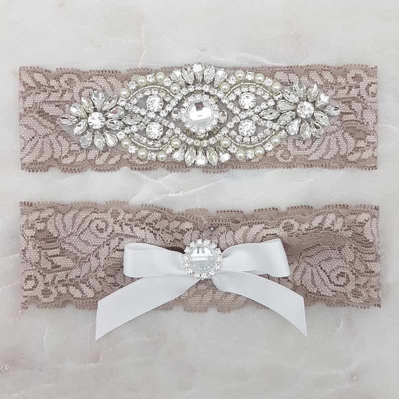 mocha lace and rhinestone bridal garter set