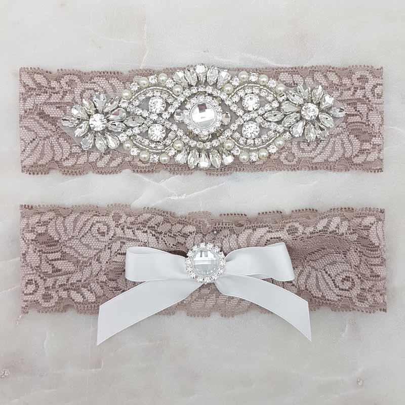 mocha lace and rhinestone bridal garter set