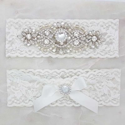 white lace garter set with crystals and rhinestones