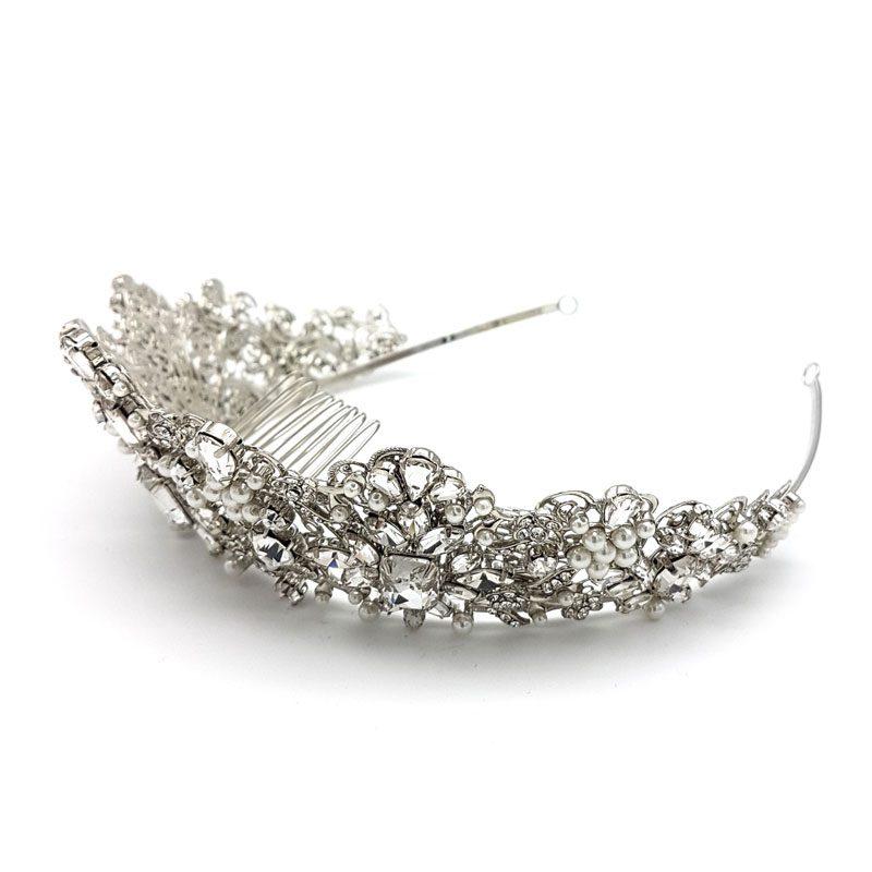 silver crystal and pearl tiara