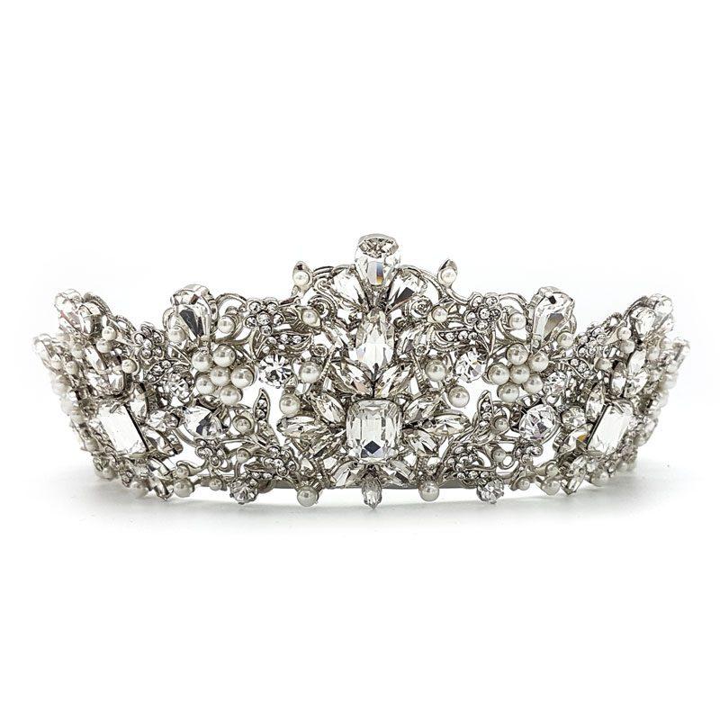 silver pearl large bridal crown