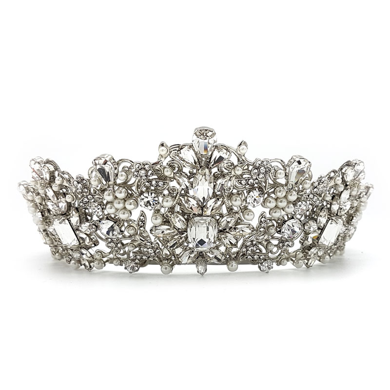 silver pearl large bridal crown
