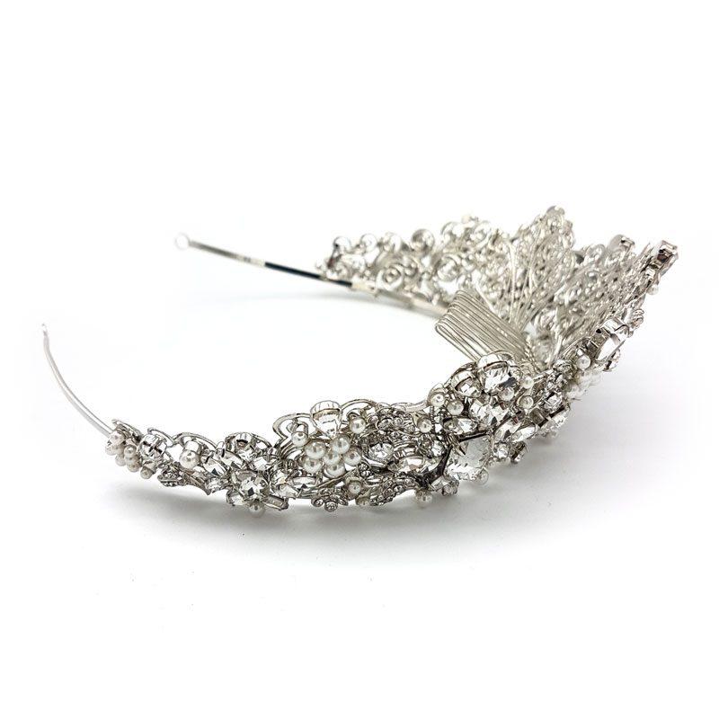 large silver pearl bridal crown
