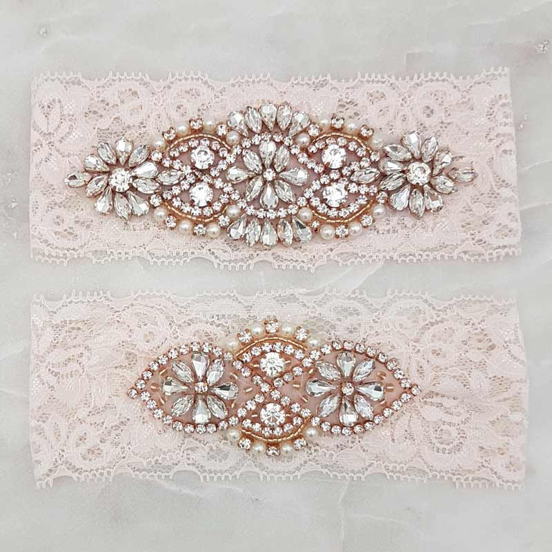blush lace with rose gold crystal and pearls