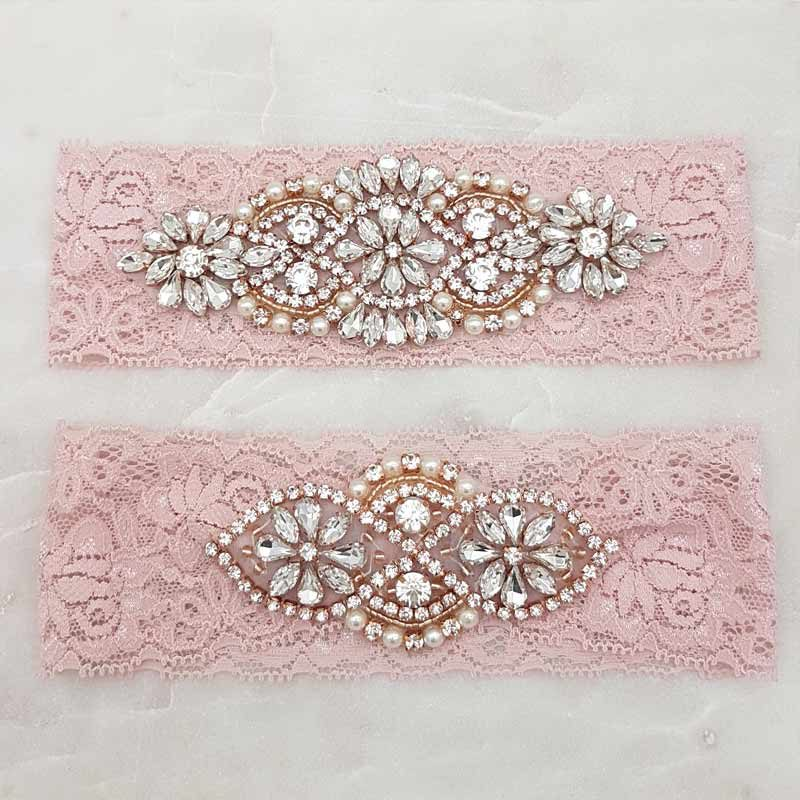dusty pink lace garter set with rose gold crystals and pearls