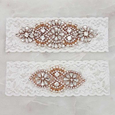 white lace garter set with rose gold, crystal and pearls