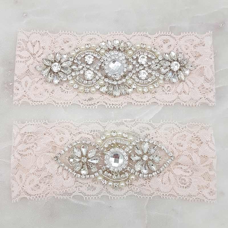 'Olivia Silver' Lace Garter Set (Blush)