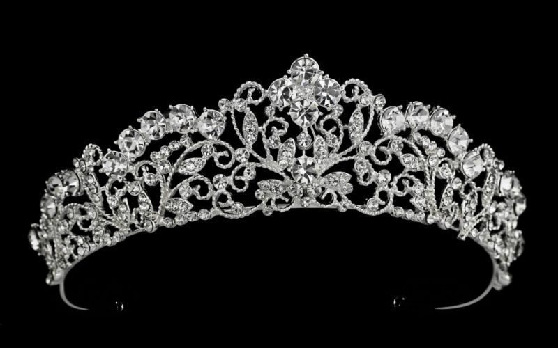 Jeffrey silver crystal bridal crown Chandra
