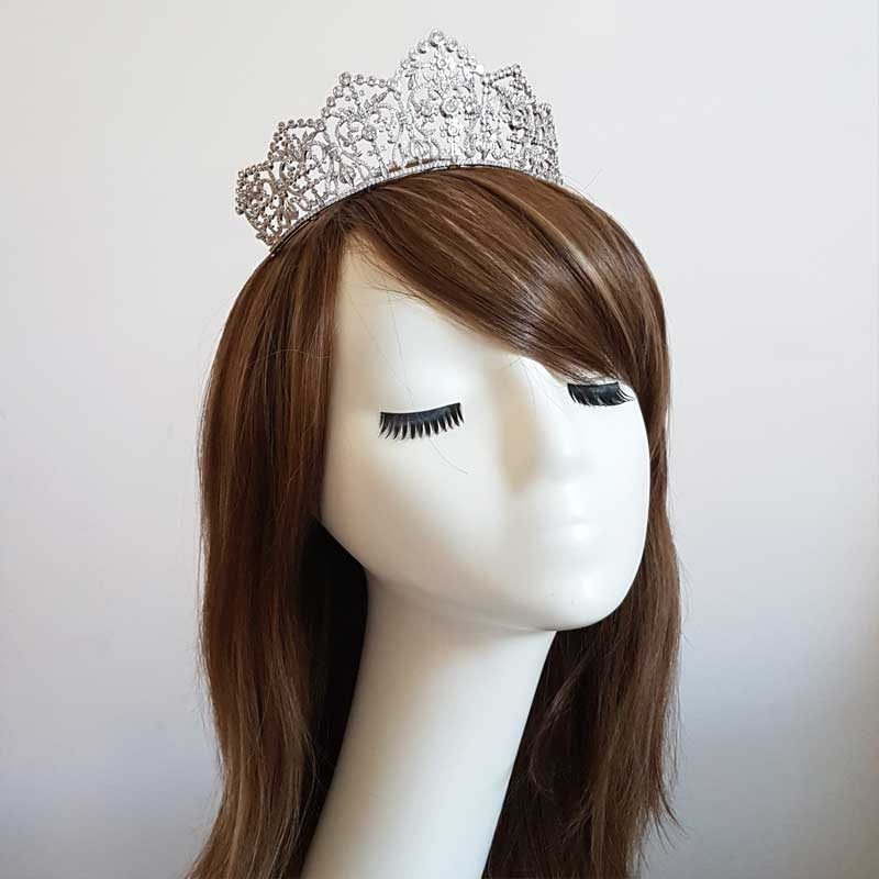 large silver bridal crown