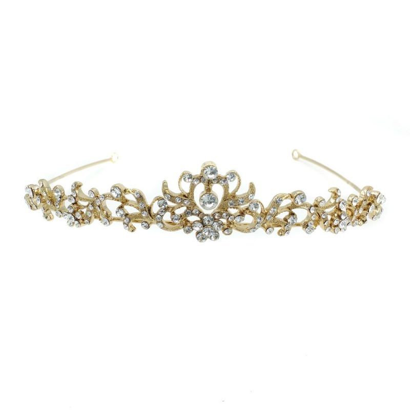 gold crystal and pearl bridal tiara