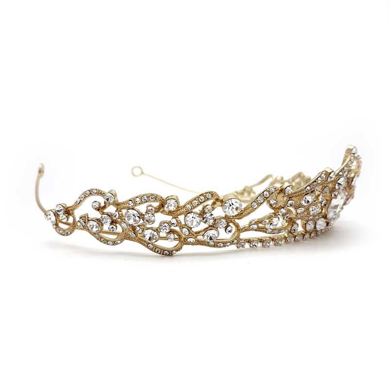 gold crystal bridal tiara