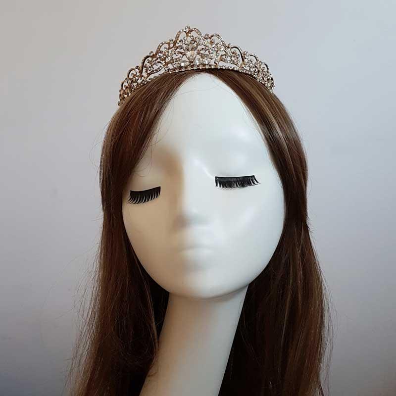 gold crystal wedding crown