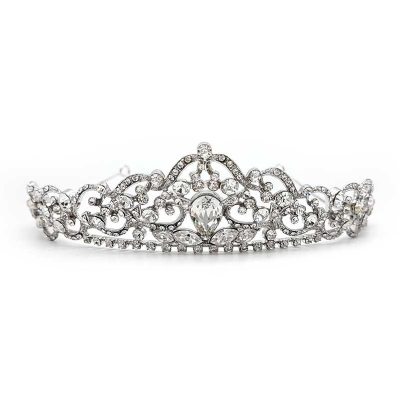 silver crystal wedding crown