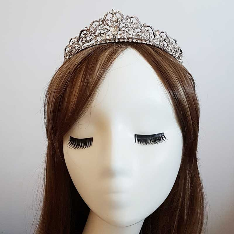 silver bridal crown tiara