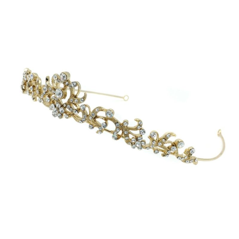 gold pearl bridal crown