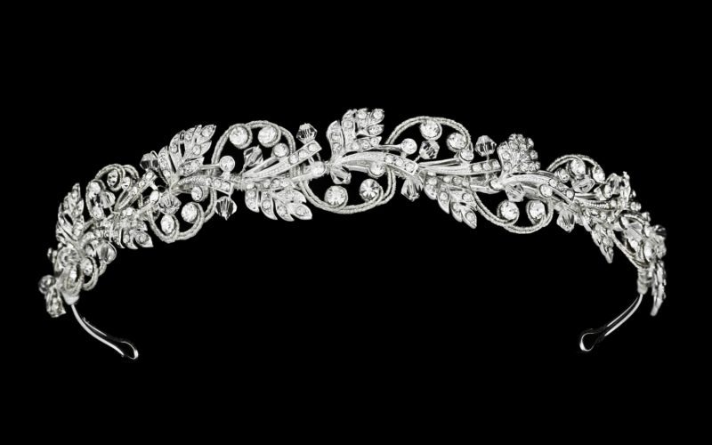 silver bridal crown and headband