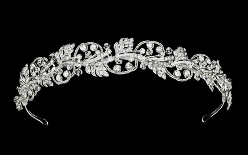 silver bridal crown and headband