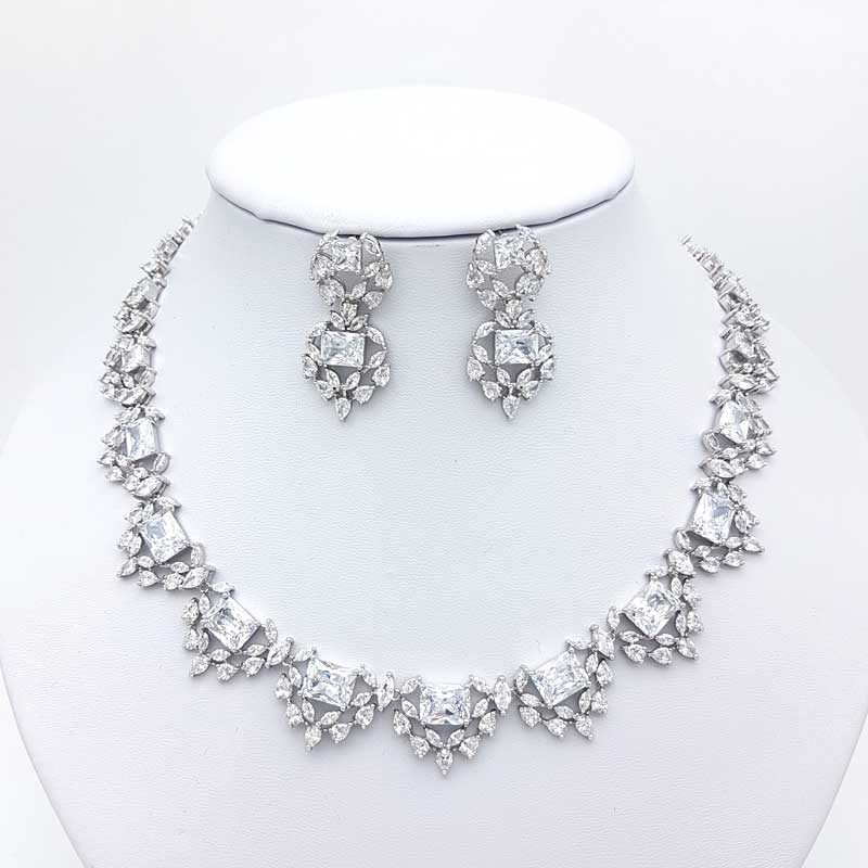 silver cz collar bridal necklace and earring set