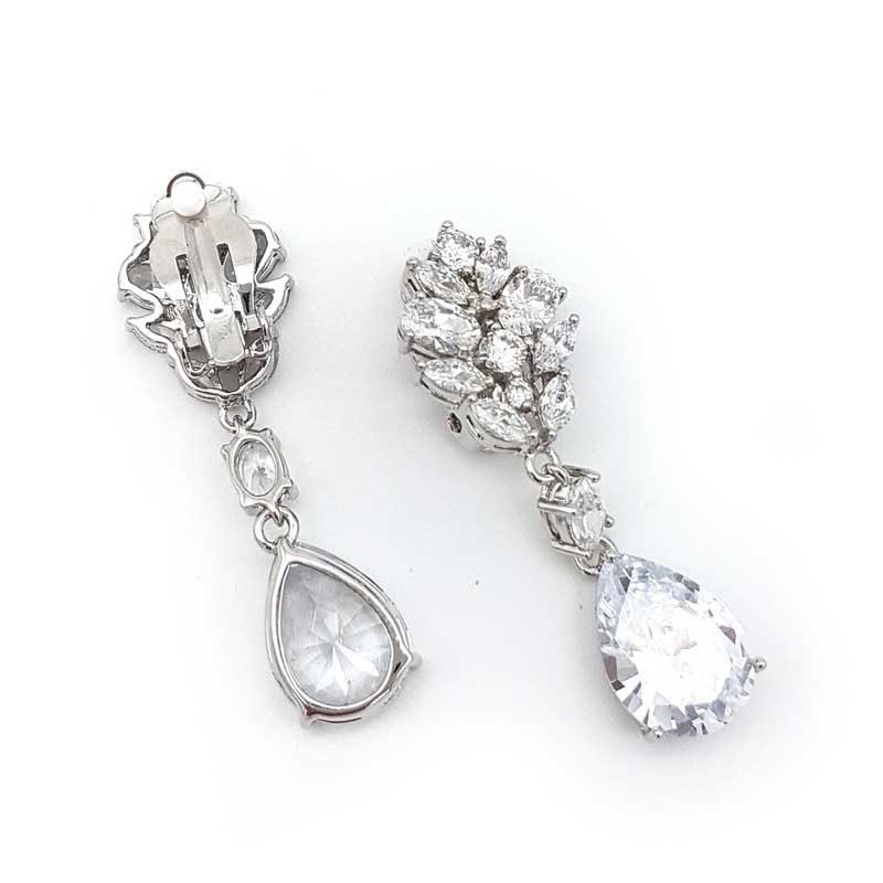 silver clip on bridal earrings