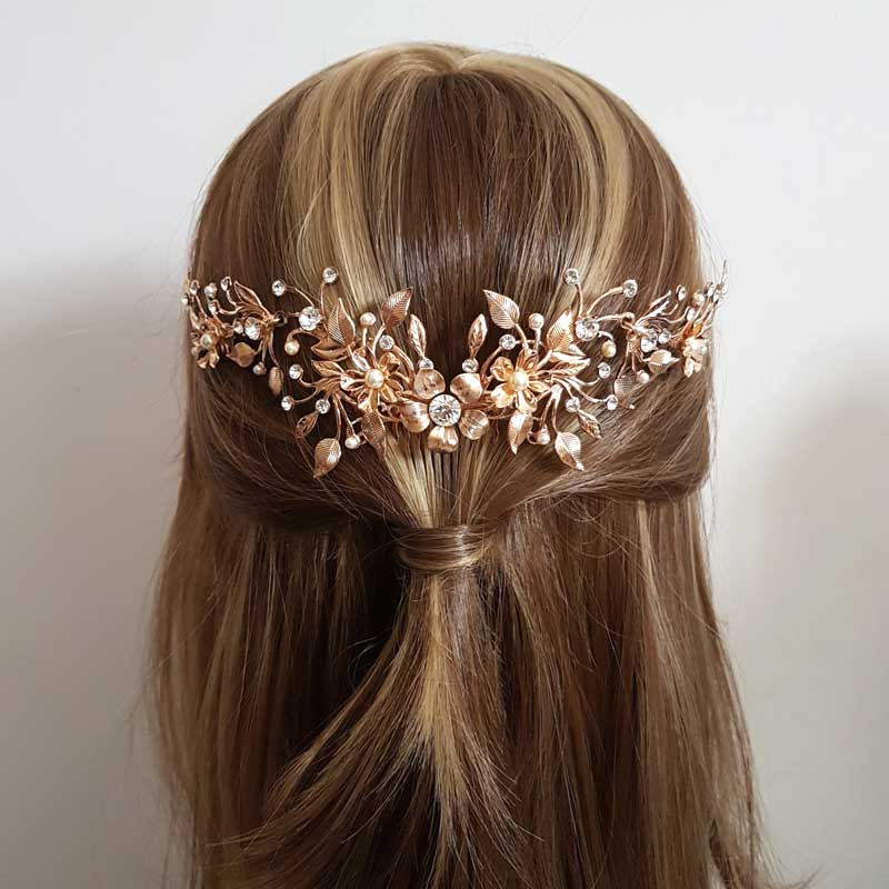 rose gold bold floral bridal comb
